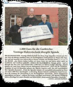 Zum drei Jährigen Firmenjubiläum spendet Verstege an die Gastkirche in Recklinghausen